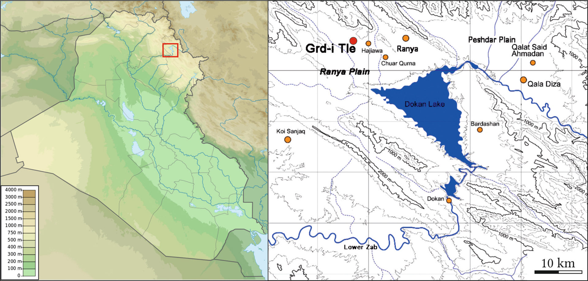 A lelőhely és környezete Hasegawa – Yamada 2016 nyomán. Az ELTE régészeti ásatása, Iraki Kurdisztán, Grd-i Tle, 2016-os évad.