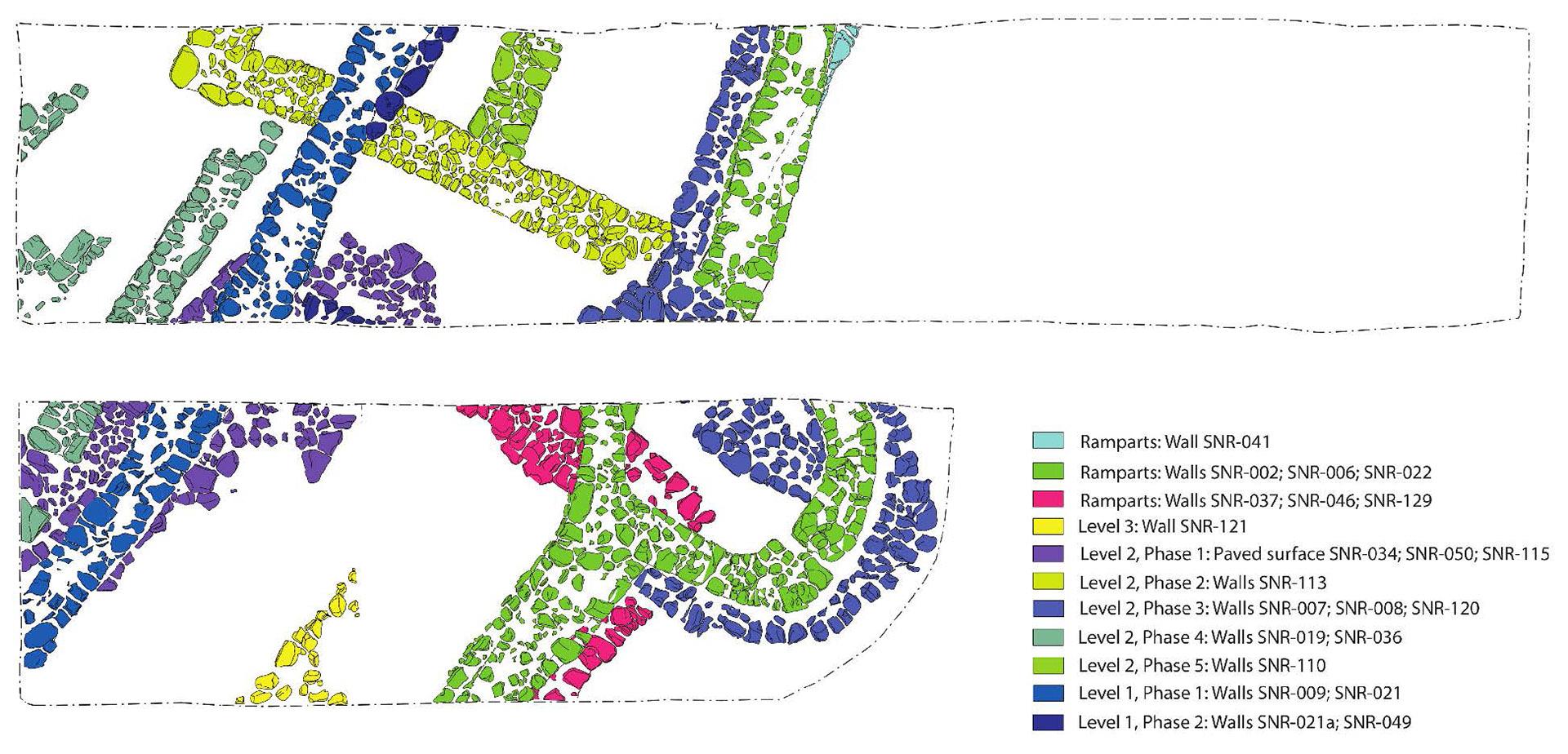 A feltárt épületmaradványok felszínrajza. A különböző színek az építési fázisok relatív időrendjét jelölik. Mordovin M., Masek, Zs. Az ELTE régészeti ásatása, Iraki Kurdisztán, Grd-i Tle, 2016-os évad.